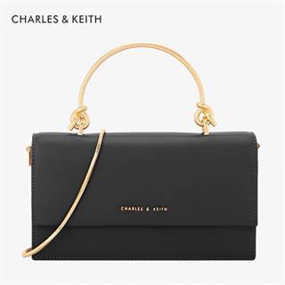 CHARLES&KEITH 长款钱包 金属提把翻盖钱包斜挎包黑色
