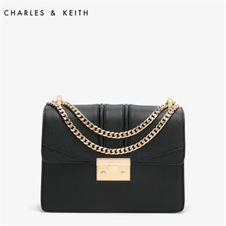 CHARLES&KEITH 酒神包 复古链条锁扣单肩斜挎包 黑色