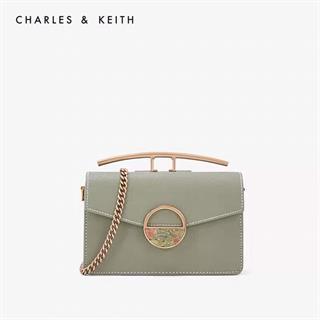 CHARLES&KEITH 小方包半圆彩石扣女士单肩斜挎包绿色