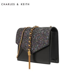 CHARLES&KEITH 信封包 流苏饰单肩链条小方包 黑色